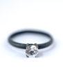 White Sapphire Ring - Oxidized Silver Ring | Lovegem Studio