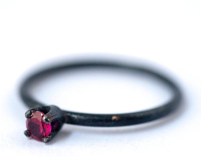 July Birthstone Ring - Ruby Oxidized Silver Ring | LoveGem Studio