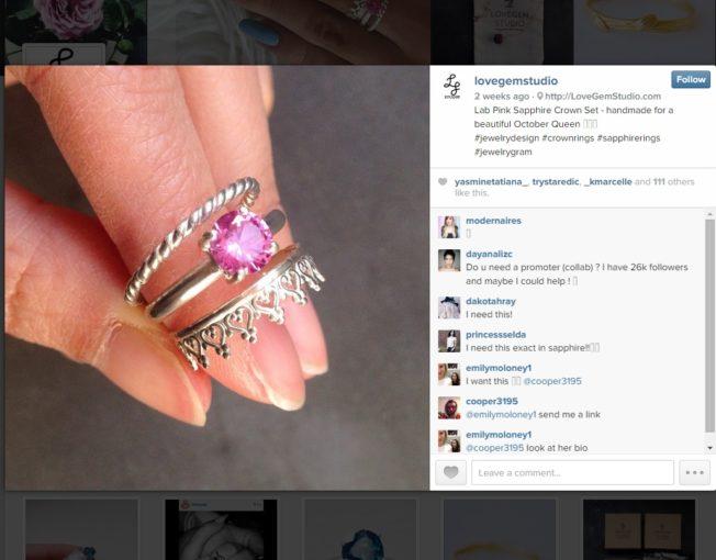 pink sapphire crown ring set