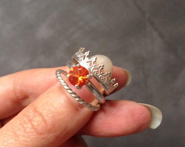 padparadsha sapphire crown ring set