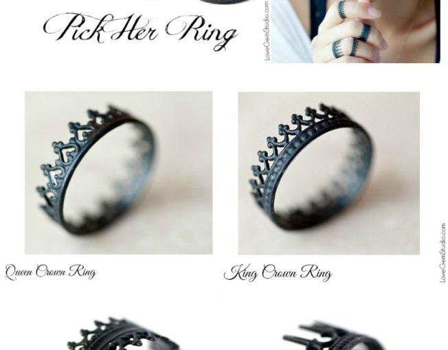 Crown Ring - Oxidized Silver Ring - LoveGem Studio