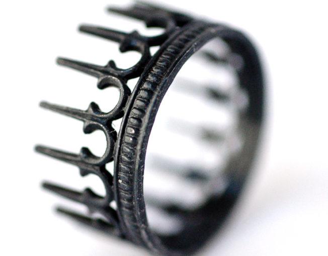 Engagement Ring Oxidized Silver Rings - Crown Rings - LoveGem Studio-29