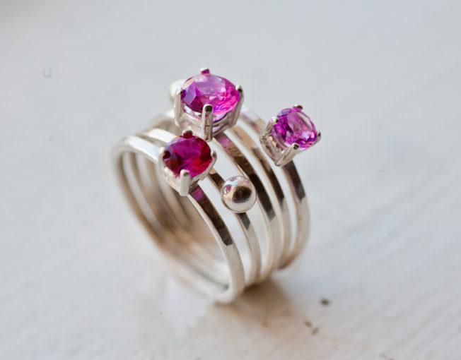 Blossom - Pink Gemstone Ring Set of 5
