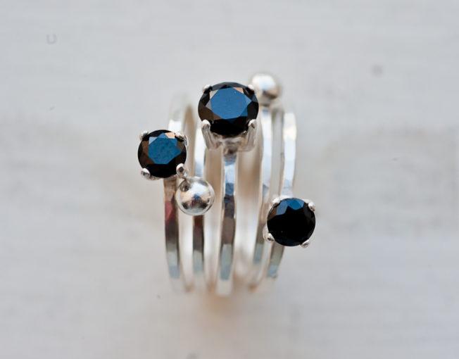 lack Spinel Gemstone Ring Set
