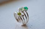 Green Gemstone Ring Set