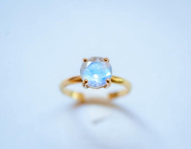 14K Gold Moonstone Ring, Engagement Ring